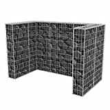 mewmewcat Gabione Mülltonnenbox Mülltonnenverkleidung für 2 Mülltonnen U-förmig 180 x 100 x 120 cm Stahl