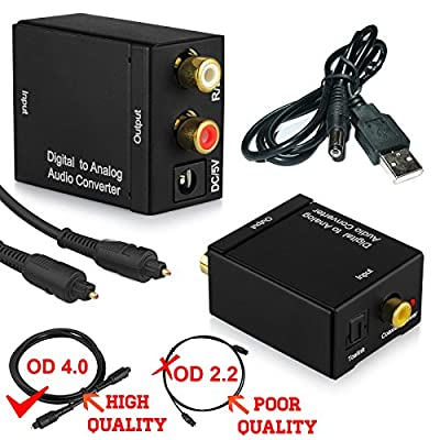DAC Digital Optical Coaxial Toslink to Analog Stereo RCA Audio Converter - Digital to Analogue Audio Converter PS3 XBox 360 HDTV Blu RAY DVD Sky HD Amazon Fire TV Box