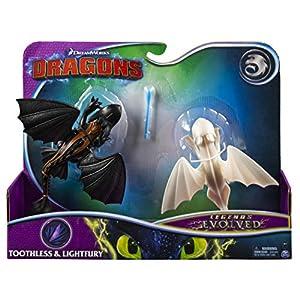 Dreamworks Dragons 6054702 Legends Evolved Figuras de dragón sin Dientes y Lightfury, Paquete de 2 Unidades, Set de Regalo, Multicolor