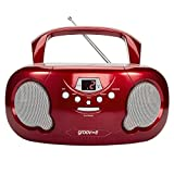 Groov-e Portable CD Player Boombox with AM/FM Radio, 3.5mm AUX Input, Headphone Jack, LED Display - Red