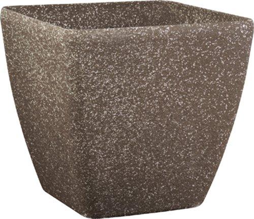 Pietra Luce Serie SK 35 cm Cast pietra rotonda Planter - Mocha arenaria (confezione da 2)