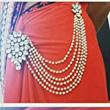 JN HANDICRAFT White Copper Multilayer Waist Belt/Belly Chain and Saree Pin for Women