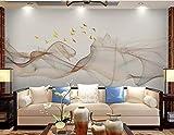 HONGYUANZHANG Goldene Linie Vogel Custom 3D Photo Wallpaper Künstlerische Landschaft Tv Hintergrundbild,24Inch (H) X 32Inch (W)