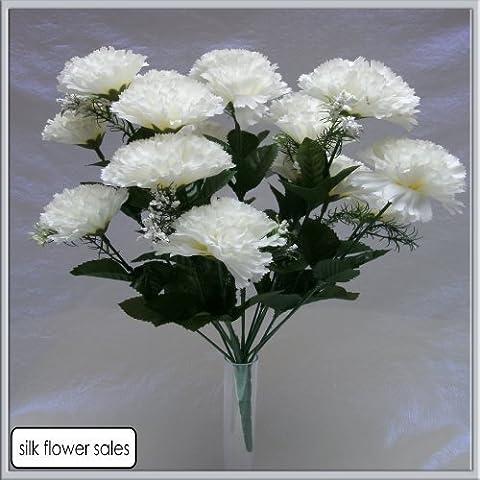 18 head WHITE carnation artificial flower bush wedding/grave/vase