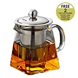 Octavius Elegant Pyramid Glass Teapot with Heat Resistant Removable Stainless Steel Infuser