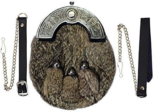 Preisvergleich Produktbild Komplettes Kleid Kilt Felltasche Grau Kaninchenfell Keltischer Knoten / Schottisch Kilt Sporran