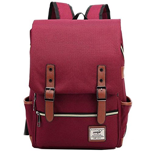 ZDTech Casual Vintage Backpack Canvas Laptop Computer Bag College School Backpack Shoulders Bag Ourdoor Weekend Travel Daypack - Red