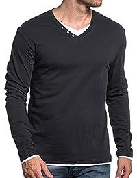 Deeluxe 74 - Tshirt basic gris charcoal à double col V