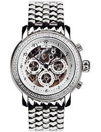 André Belfort 410142 - Reloj analógico de mujer automático con correa de acero inoxidable plateada - sumergible a 50 metros