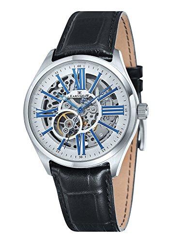Thomas Earnshaw ES-8037-02 - Reloj para hombre con esfera analógica con volante visto y correa de cuero negra