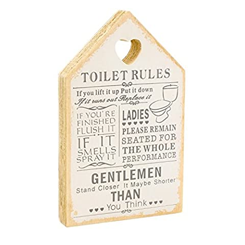 Leonardo Wooden Signs Shabby Chic Toilet Rules Novelty Hanging Bathroom White Plaque, Wooden Funny Toilet Signs for Wall or Door - Ideal Toilet Accessories or as Wooden Accessories