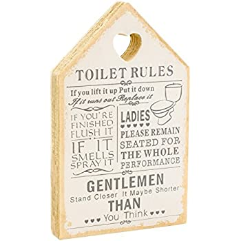 Leonardo Wooden Signs Shabby Chic Toilet Rules Novelty Hanging Bathroom  White Plaque, Wooden Funny Toilet Signs for Wall or Door - Ideal Toilet  Accessories ...