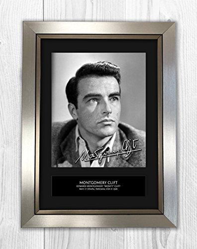 Montgomery Clift 1 MT - Signed Autograph Reproduction Photo A4 Print(Silver Frame)