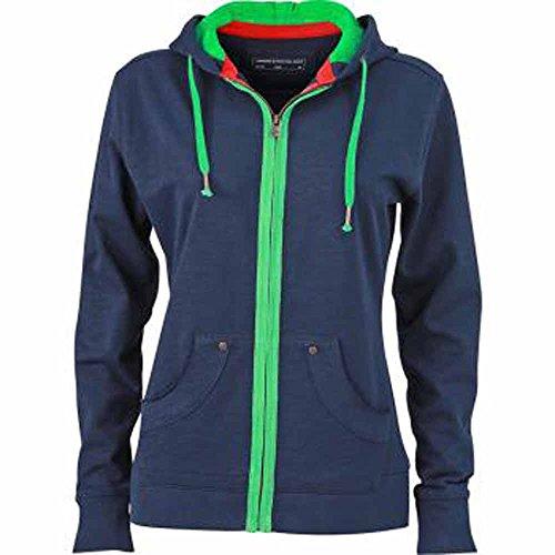 James&Nicholson - Veste sweat-shirt zippé à capuche URBAN - JN981 FEMME Bleu marine