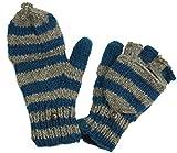 Guru-Shop Handschuhe, Gestreifte Klapphandschuhe Nepal Extra Groß - Grau/petrol, Herren/Damen, Blau, Wolle, Size:One Size, Handschuhe aus Wolle Alternative Bekleidung