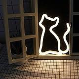 AIZESI Deko Katze LED Lampe Katze Neon Licht NeonLicht,NeonLampen,Festzelt Batterie oder USB betrieben LED Ligths WandDekoration für Wohnzimmer,Weihnachten,Party als Kinder Geschenk(weiße Katze)