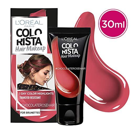 L'Oréal Paris Colorista Hair Makeup Colorazione Temporanea 1 Giorno per Ciocche e Punte, Tinta per Capelli Castani, Meches Rosa Cioccolato, 30 ml