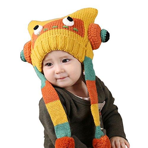 Cute robot pour bébé en crochet Hiver chaud Chapeau 3-36 Mois - Jaune