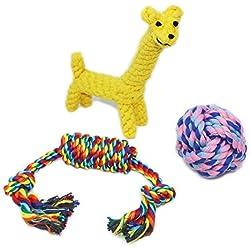 Paquete de 3 juguetes de cuerda Decyam para masticar, para perros pequeños y medianos