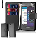 32nd� Book Style Wallet PU Leather Case Cover for Blackberry Z10 + screen protector, cleaning cloth and touch stylus - Black