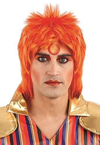 (Ingwer Glam Rock Perücke Herren Kostüm Ziggy Sternstaub Bowie Erwachsene Kostüm ACC NEU)