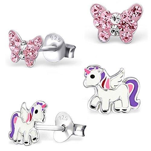 2 Paar Ohrstecker Kleine Kristall Schmetterling + Pegasus Einhorn 925 Echt Silber Sterlingsilber Mädchen Kinder Ohrringe (Gold Baby-mädchen Charms)