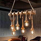 BMEI Lámpara colgante de bambú de la soga de la vendimia Lámparas de colgante de mimbre del campo retro 6 luces para la sala de comedor Lámparas de la sala de estar