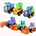 Daity 6pcs Spielzeugauto Baufahrzeug Kinder Autospielzeug Bulldozer Bagger Straßenwalze Kran Muldenkipper und Mischer von Daity