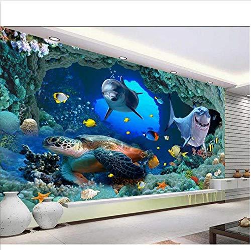 benutzerdefinierte 3d fototapete wohnzimmer wandbild delphin coral submarine cave foto sofa tv hintergrund vliestapete für wand 3d-400x280cm