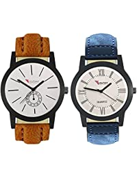 Talgo 2017 New Collection Foxter (combo Of 2) White Round Shapped Dial Leather Strap Fashion Wrist Watch For Boys...