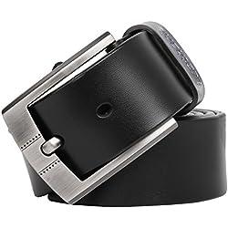 Leathario Hombres Cinturón de Cuero Correa Cinturones de Piel Diseñado para caballero (125, Negro)