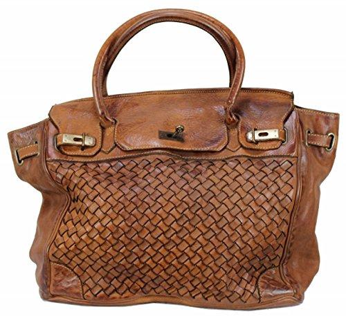 BOZANA Bag Lara cognac Italy Designer Damen Handtasche Schultertasche Tasche Leder Shopper Neu -