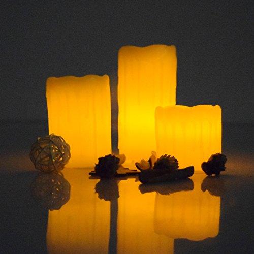 (490) Echtwachskerzen 3er Set in Geschenkverpackung warmes gelbes Flackerlicht