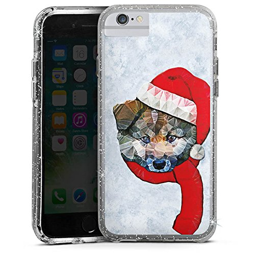 Apple iPhone 8 Bumper Hülle Bumper Case Glitzer Hülle Dog Loves Christmas Chien Dog Bumper Case Glitzer silber