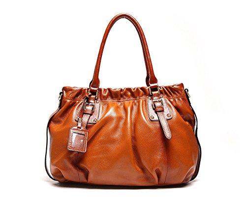 Vintage Fold cuoio genuino di stile Totes cartella della borsa della spalla delle donne Myleas Marrone