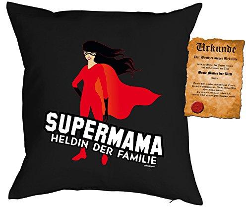 Weihnachtsgeschenk für Mama Kissen mit Füllung und Urkunde Supermama Heldin der Familie Geschenk für die Mutter Polster Sofakissen Couchkissen (Die Weihnachts-shirts Familie Passende Für)