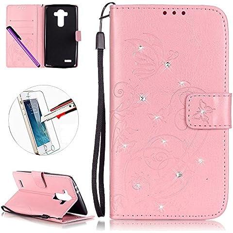 LG G4Custodia, LG G4sottile design geometrico fashion moderno a portafoglio, il [farfalla fata fiore] [] con luccicante diamante pu pelle Flip Custodia Protettiva con Supporto per LG G4, + 1Pellicola proteggi schermo + 1PCS stilo touch pen. - Gunmetal Scheda