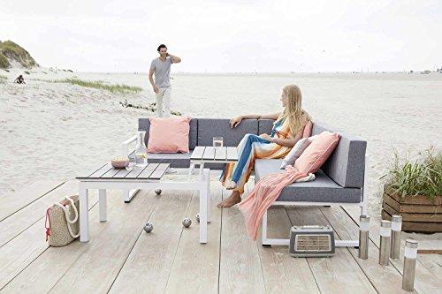 Gartengruppe Garten-Loungegruppe Sitzgruppe 3-tlg DAPHNE | Weiß-Grau | Aluminium | mit Funktionen
