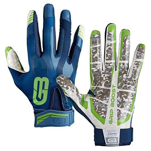 GRIP BOOST Stealth Pro Elite 2018 American Football Receiver Handschuhe - Navy/grün Gr. M