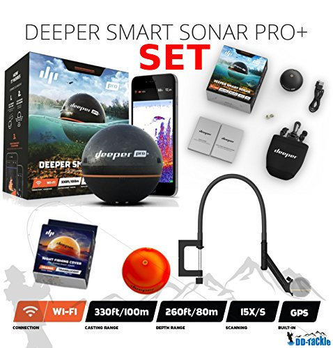 Deeper Smart Sonar Pro + Plus SET Wifi GPS + Night Fishing Cover + Flexarm Halter Bathymetrische Karte