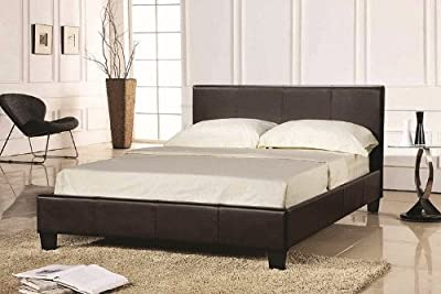 "Pavia / Prado 4ft 6"" Double Bed Frame - Brown Faux Leather Finishing"