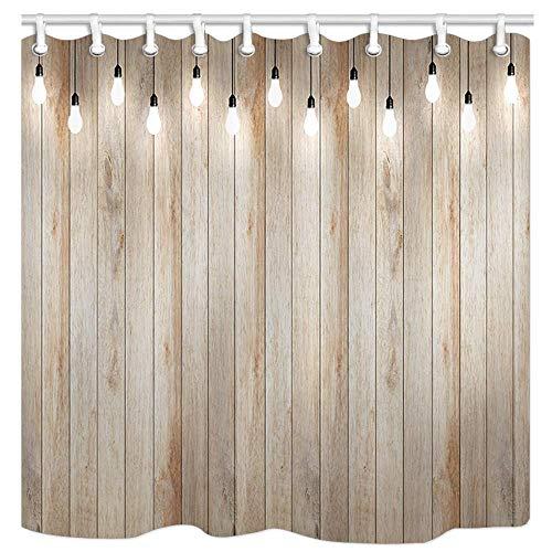 AdaCrazy Holzwand mit Birne Lampe Strahler Stoff Duschvorhang 3D-Druck Wasserdicht beschichtetes Bad aus Polyestergewebe mit 12 Haken 71 Zoll -