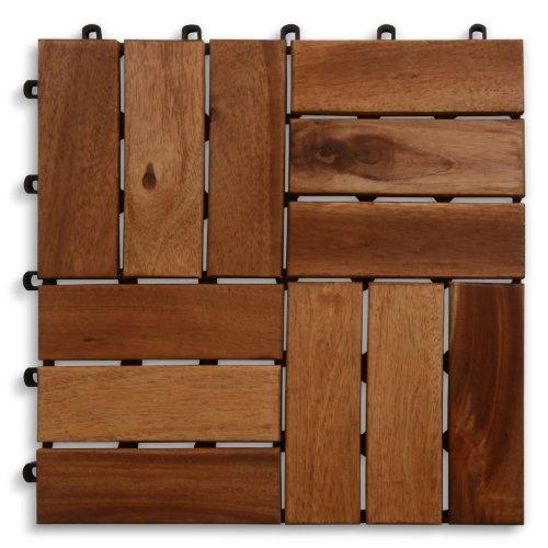 casa pura Terrassenfliesen Set Ranger | Holz, Akazien | 55 Stück - 5m²