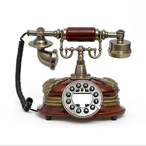 K-dd telefono vintage/telefono retro con corpo in legno e metallo, quadrante rotante funzionale e campana classica in metallo,brown