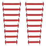 Xunits Elastische Silikon Schnürsenkel rot, flach Schleifenlose Schuhbänder in 13 (neon) für Kinder & Erwachsene