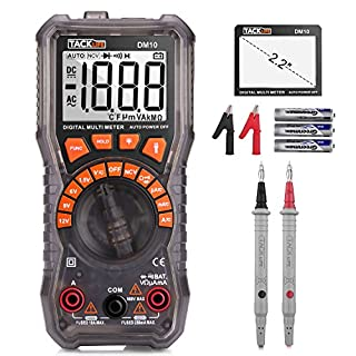 TACKLIFE Multimeter, DM10 Digital Electrical Tester Auto Ranging Battery Tester AC/DC Voltage AC/DC Current Resistance Continuity Diode Measuring Meter with NCV, Flashlight and Data Retention