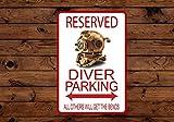 43LenaJon Diver Parking Only Aluminiumschild, lustiges Vintage-Metallplakat, Straßenschild, Küchenschild, rustikales Bar-Dekor