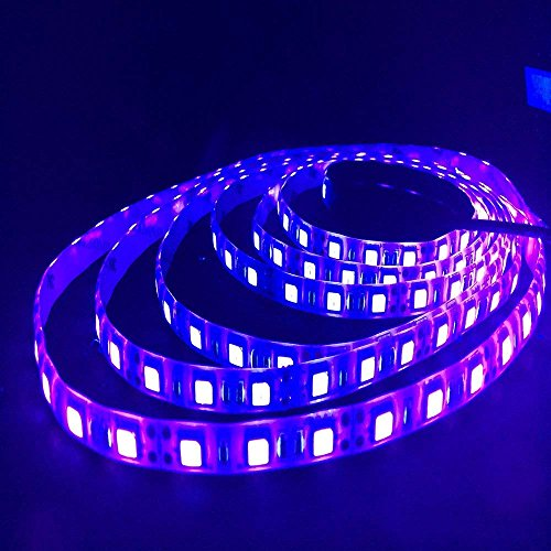 HKANG 5 Meter UV Led Strip Light 16FT/5M SMD5050 Wasserdicht UV Blacklights Ultraviolet Light DC12V Wavelength 395-400nm Zimmer Küche Party Weihnachtsdekoration,NoAdhesive