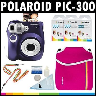 Polaroid Cámara analógica de película instantánea PIC-300 (Púrpura) con paquetes de película instantánea Polaroid 300 de 10 + Funda de neopreno + Kit de limpieza Polaroid + Correa de cuello y muñeca