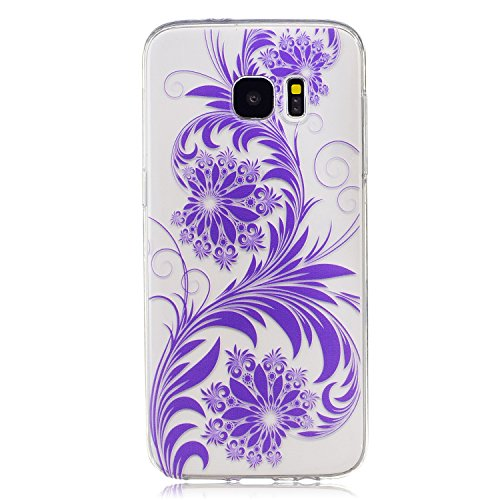 Samsung Galaxy S7 edge Hülle Case, Cozy Hut [Flower Series] Ultra Dünn [Crystal Case] Transparent Soft-Flex Handyhülle / Bumper-Style Premium-TPU Silikon / Perfekte Passform / Kratzfest Schutzhülle für Samsung Galaxy S7 edge Case, Samsung Galaxy S7 edge Cover, Galaxy S7 edge Case, Galaxy S7 edge Cover, S7 edge Case, S7 edge Cover - Purpurrote Blume